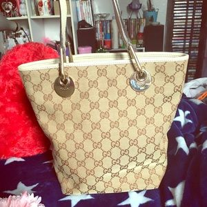 Authentic Gucci Bucket Bag classic Brown and tan